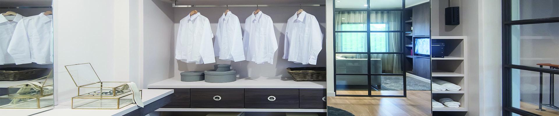 bespoke wooden wardrobe in modern home