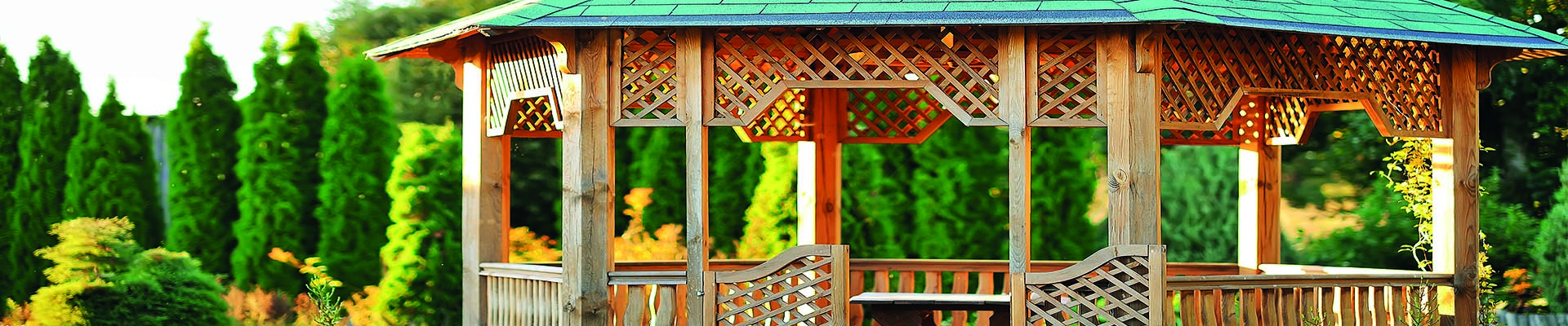 green oak structure wooden gazebo in garden