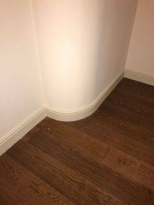 wooden white skirting board
