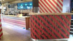 red and white stripey dining islands in restaurant