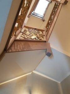 new staircase with circle detailing