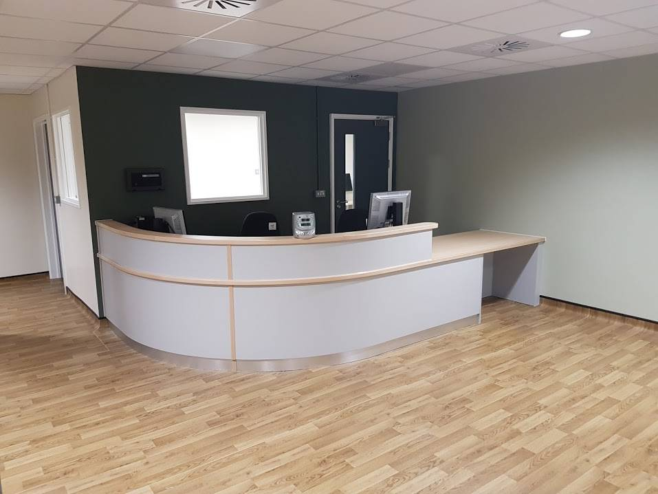 new white wooden reception desk
