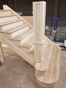 wooden staircase being made