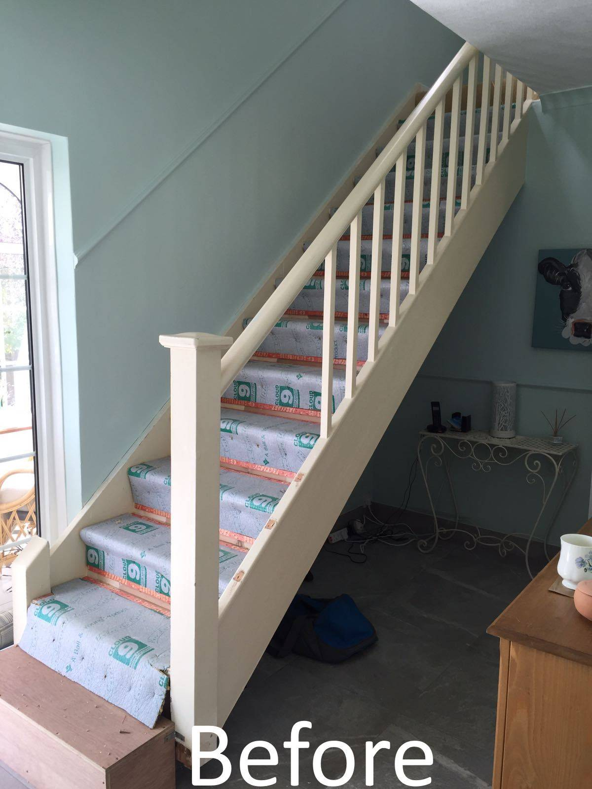 before shot of staircase
