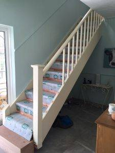 before shot of staircase installation