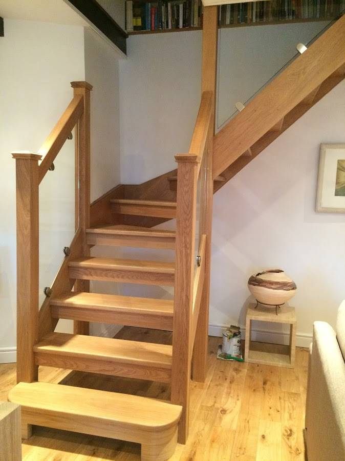 new staircase with glass panels