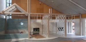 wooden framing inside