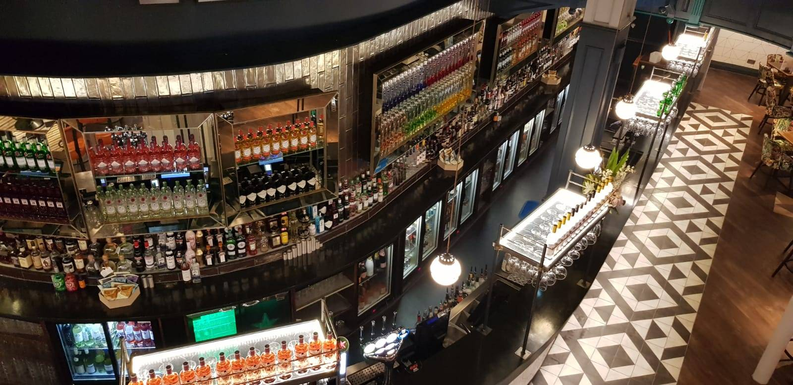 aerial view of bar